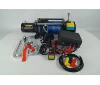 Лебедка электрическая 12V Electric Winch 10000lbs Съемный блок управления, синтетический трос.